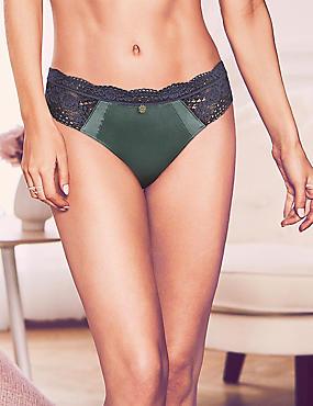 Silk & Lace Brazilian Knickers, ANTIQUE GREEN, catlanding
