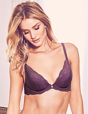 Lace Padded Plunge Bra A-E with Silk, PURPLE, catlanding