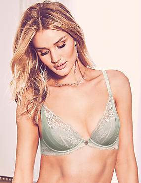 Lace Padded Plunge Bra A-E with Silk, GREEN, catlanding