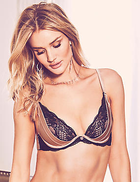 Lace Padded Plunge Bra A-E with Silk, GOLD, catlanding
