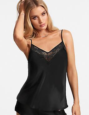 Silk & Lace Camisole, BLACK, catlanding