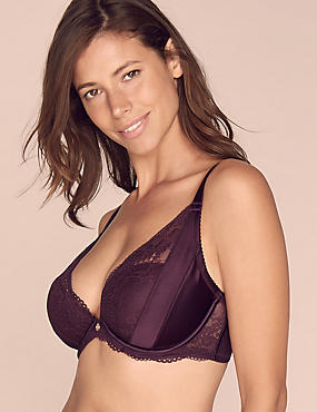 Lace Padded Plunge Bra DD-G with Silk, PURPLE, catlanding