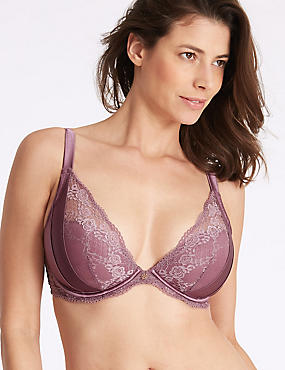 Lace Padded Plunge Bra DD-G with Silk, DARK LILAC, catlanding