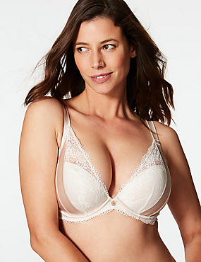 Lace Padded Plunge Bra DD-G with Silk, ALABASTER, catlanding