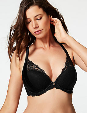 Lace Padded Plunge Bra DD-G with Silk, BLACK, catlanding