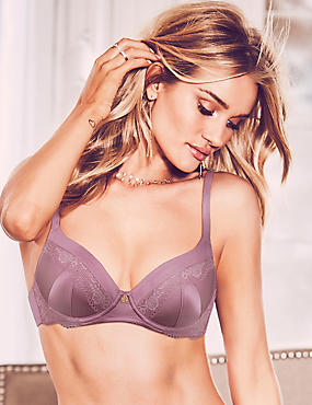 Silk Blend Lace Padded Full Cup Bra A-E, DARK LILAC, catlanding