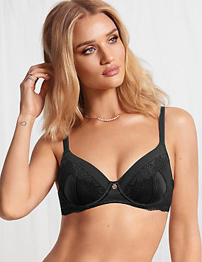 Silk Blend Lace Padded Full Cup Bra A-E, BLACK, catlanding