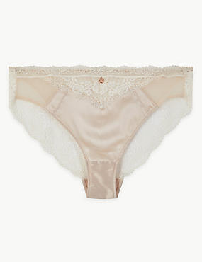 Silk & Lace High Leg Knickers, ALABASTER, catlanding