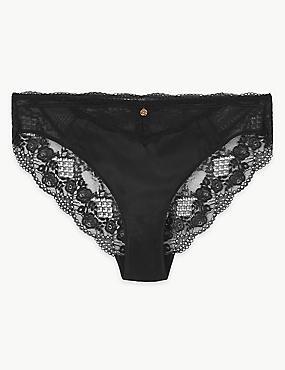 Silk & Lace High Leg Knickers, BLACK, catlanding