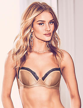 Lace Padded Balcony Bra A-E with Silk, GOLD, catlanding