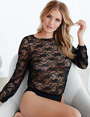 All Over Lace Body, BLACK, catlanding