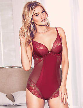 Silk & Lace Wired Body A-D, DARK RED, catlanding