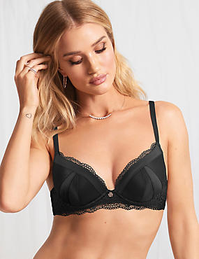 Lace Padded Plunge Bra A-E with Silk, BLACK, catlanding