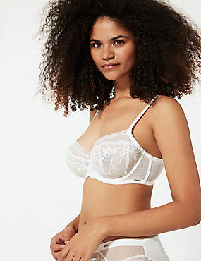 Embroidered Non-Padded Full Cup Balcony Bra A-DD, WHITE, catlanding