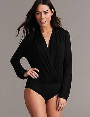 Non-Padded Wrap Long Sleeve Body, BLACK, catlanding
