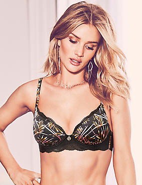 Silk & Lace Padded Plunge Bra A-E, BLACK MIX, catlanding