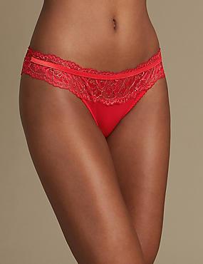 Sparkle Lace Brazilian Knickers, RED MIX, catlanding