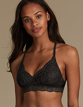 Lace Non-Padded Bralet, BLACK MIX, catlanding