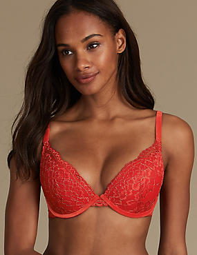 Sparkle Lace Padded Push-up Plunge Bra A-E, RED MIX, catlanding