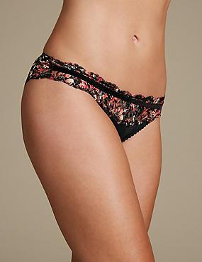 Floral Print Lace Brazilian knickers, BLACK MIX, catlanding