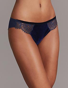 Velvet & Lace Brazilian Knickers, DARK BLUE, catlanding