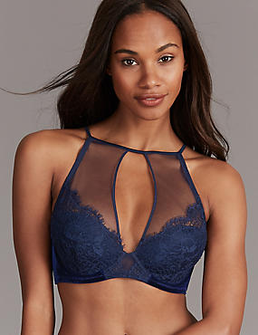 Lace Velvet High Neck Padded Plunge Bra, DARK BLUE, catlanding