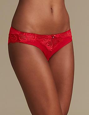 Lace Brazilian Knickers, RED, catlanding