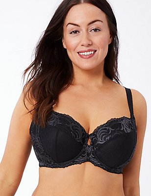 Sophia Lace Non-Padded Underwired Balcony Bra DD-GG, BLACK MIX, catlanding