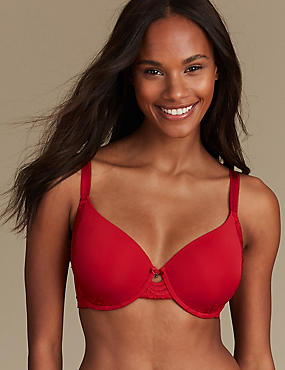Lace Memory Foam Underwired Full Cup Bra A-E, RED, catlanding