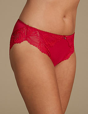 Ornate Lace High Leg Knickers, RED, catlanding