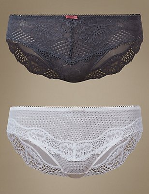 2 Pack Textured Lace Brazilian Knickers, GREY MIX, catlanding
