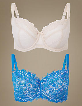 2 Pack Textured & Lace Non-Padded Balcony Bra DD-GG, BLUE MIX, catlanding