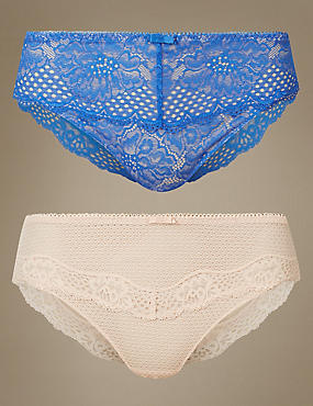 2 Pack Textured & Lace High Leg Knickers, BLUE MIX, catlanding