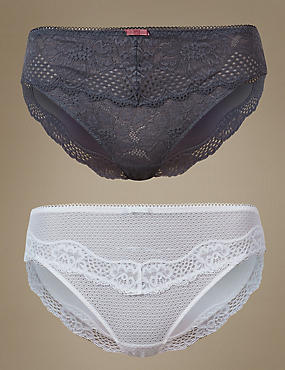 2 Pack Textured & Lace High Leg Knickers, GREY MIX, catlanding