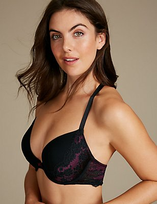 Artisan Lace Padded Plunge Bra A-E, DARK RED, catlanding