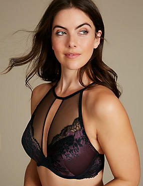 Lace High Neck Plunge Bra A-DD, DARK RED, catlanding