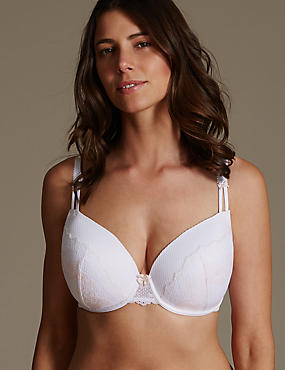 Lace Padded Plunge Bra DD-GG, WHITE MIX, catlanding