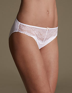 Lace High Leg Knickers , WHITE MIX, catlanding