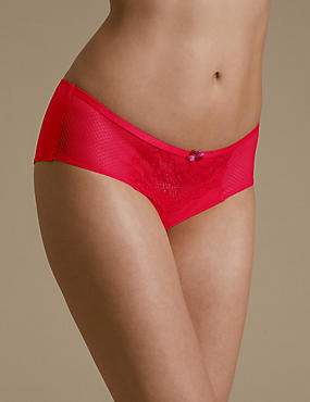 Penelope Lace Low Rise Shorts, RED MIX, catlanding