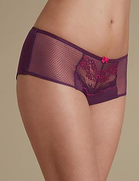 Penelope Lace Low Rise Shorts, PURPLE MIX, catlanding