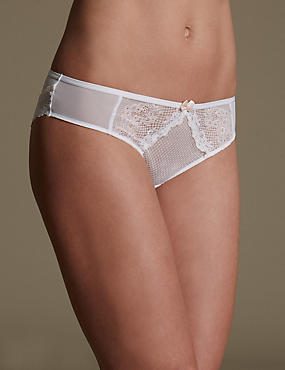 Lace Brazilian Knickers , WHITE MIX, catlanding