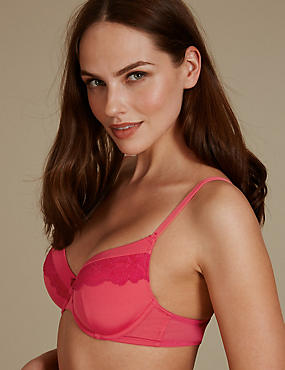 Lace Padded Full Cup Bra A-E, PINK MIX, catlanding
