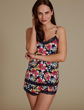 Lace Trim Floral Print Camisole Set , NAVY MIX, catlanding