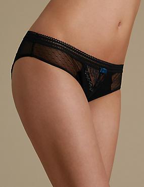 Artisan Lace Brazilian Knickers, BLACK, catlanding