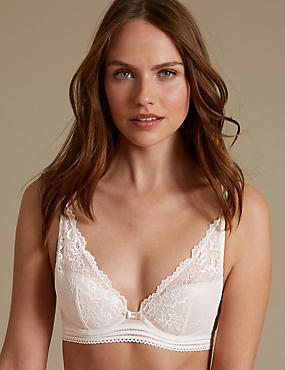 Artisan Lace High Apex Plunge Padded Bra A-E, IVORY, catlanding