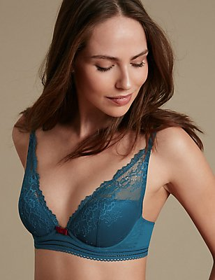 Artisan Lace High Apex Plunge Padded Bra A-E, PETROL, catlanding