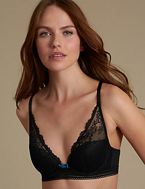 Artisan Lace High Apex Plunge Padded Bra A-E, BLACK, catlanding