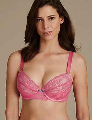 Pleat & Lace Padded Balcony Bra DD-GG, CRIMSON, catlanding