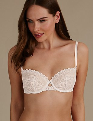 Geometric Lace Padded Push Up Balcony  Bra A-E, CREAM, catlanding