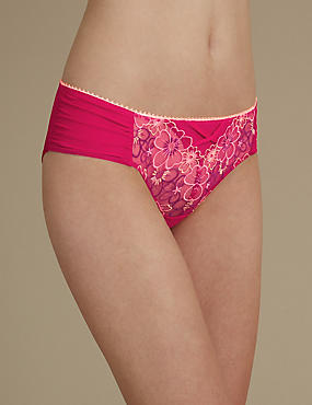 Multi Floral Embroidered Brazilian Knickers, PINK MIX, catlanding